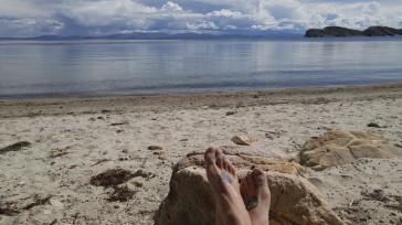 Baño en el lago Titicaca. Bolivia.