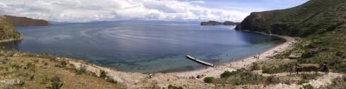 Vista del Lago Titicaca desde la Chinkana. Bolivia.