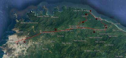 Ruta desde Santa Marta al Parque Nacional Natural Tayrona.