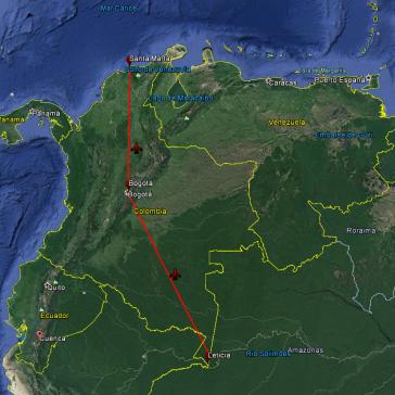 Ruta en Avión desde Leticia a Santa Marta.