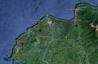 Ruta desde Santa Marta a Cartagena de Indias.