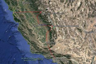 Ruta de Los Ángeles a San Francisco.