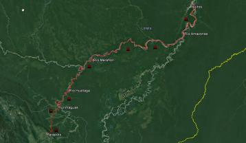 Ruta desde Tarapoto a Yurimaguas e Iquitos.