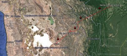 Ruta desde Santa Cruz de la Sierra a Uyuni.