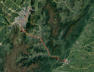 Ruta desde Bogotá a Villavicencio.