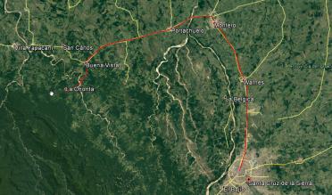 Ruta desde Santa Cruz de la Sierra a el Parque Nacional Amboró.