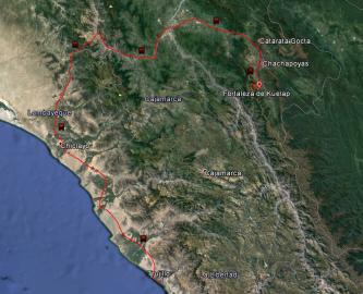 Ruta de Huanchaco a Chachapoyas