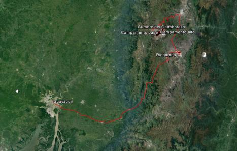 Ruta desde Guayaquil a Riobamba.