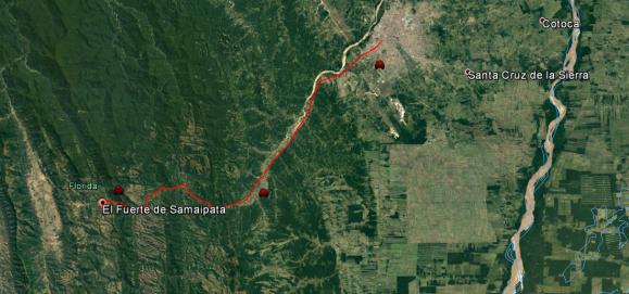 Rita de Santa Cruz de la sierra a Samaipata.